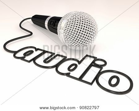 Audio word in a cord or wire from a microphone, mic or mike to illustrate sound from an interview or report of news or message