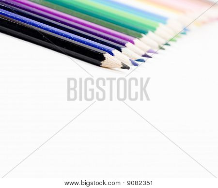 Colored pencils, isolated on the white