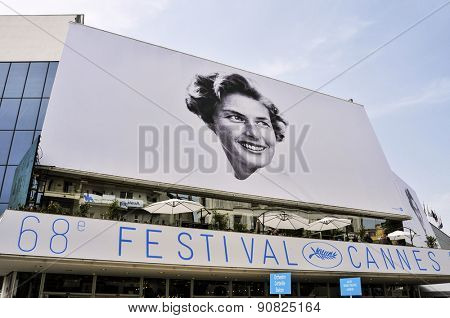 CANNES, FRANCE - MAY 14: Facade of the Palais des Festivals with the billboard of the 68 edition of the Cannes Film Festival on May 14, 2015 in Cannes, France