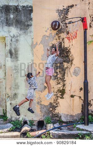 Penang Wall Artwork Named Children Playing Basketball