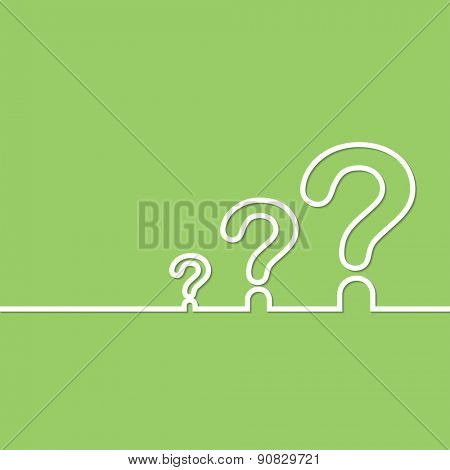 FAQ sign. Question icon. Help symbol. on green background. illustration.
