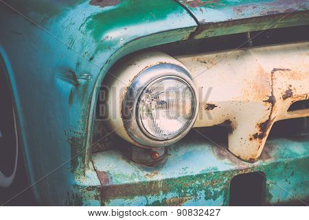 Headlight Of A Vintage Car With Vintage Filter Effect