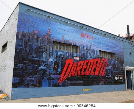 Netflix Daredevil mural in Williamsburg section in Brooklyn