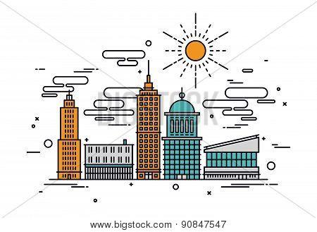 Business City Line Style Illustration