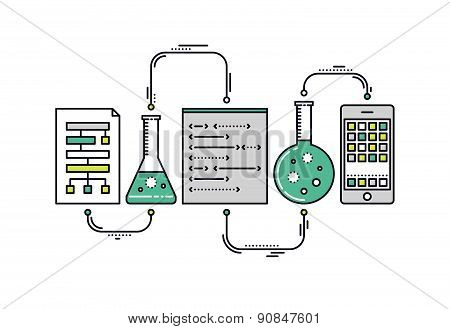Science Data Research Line Style Illustration
