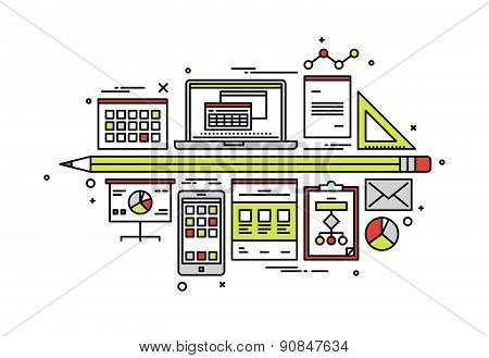 Accounting Workflow Line Style Illustration