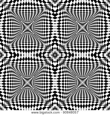 Design Seamless Monochrome Illusion Checkered Pattern