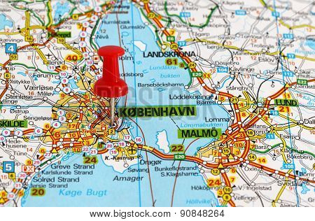 map with pin point of copenhagen in denmark poster