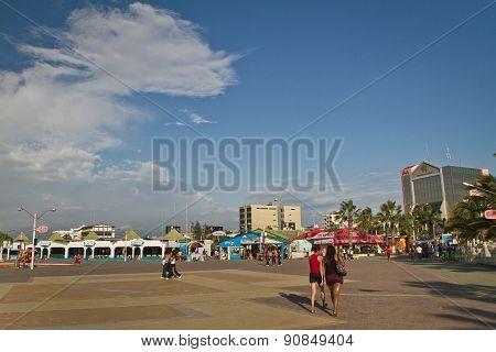 Beautiful view of Murcielago beach esplanade in Manta, ecuadorian coastal city,