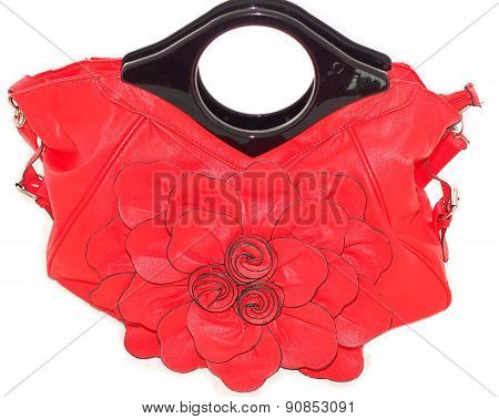 Bag ladies beautiful bright red on a white background
