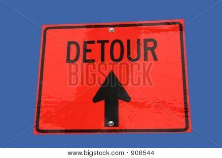 Detour Straight On Sign