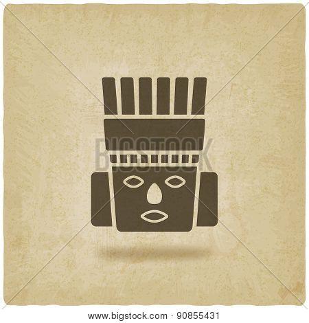 Toltec Warrior head. Mexico ancient culture symbol