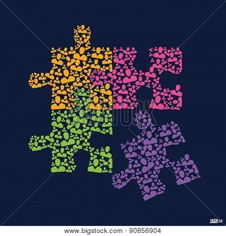 Team Work puzzle illustration or Great Team - Illustration