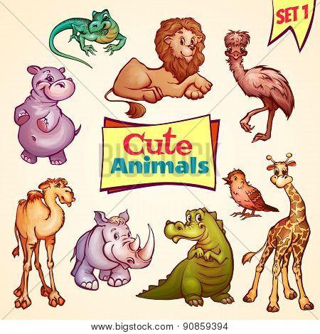 Vector set of cute animals. Lion, rhino, giraffe and etc.