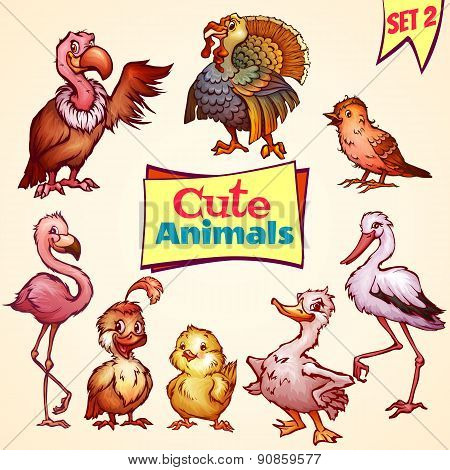 Vector set of cute birds. Turkey, goose, flamingo and etc.