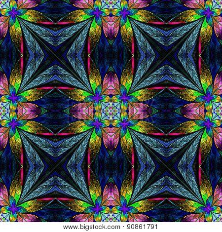 Symmetrical Multicolored Flower Pattern In Stained-glass Window Style On Darkblue.