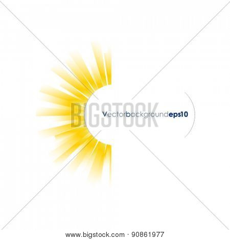 Yellow and white vector background with sun burst effect