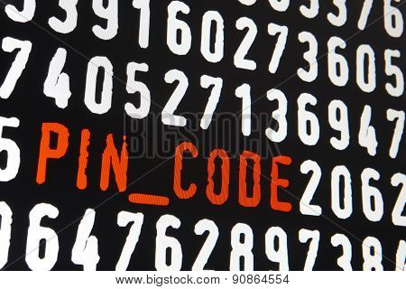 Computer Screen With Pin Code Text On Black Background