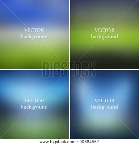 Blurred Soccer Football Stadiums Backgrounds Set