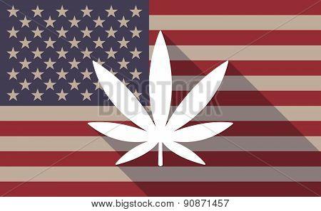 Usa Flag Icon With A Marijuana Leaf