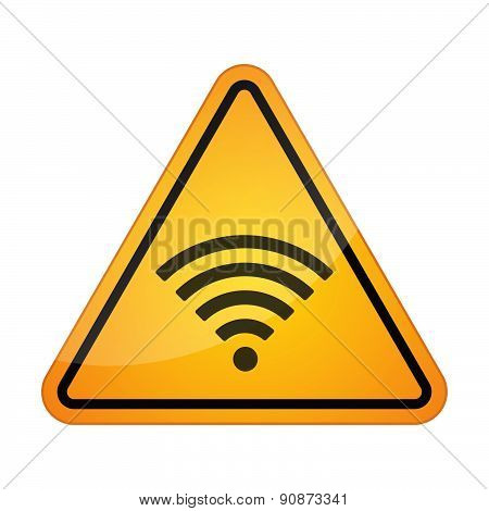 Illustration of a danger signal icon with a radio signal sign poster