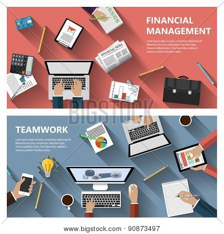 Modern flat design financial menagement and teamwork concept  for e-business, web sites, mobile applications, banners, corporate brochures, book covers, layouts etc. Raster illustration