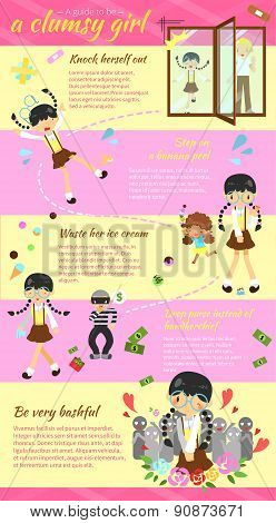 A Guide To Be A Clumsy Girl Infographic Template Layout Design With Sample Text, Create By Vector