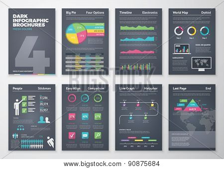 Black infographic templates in brochure style