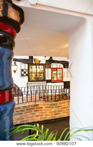 Interior view of the Hundertwasser Village Gallery  in Vienna, Austria
