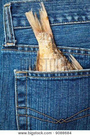 Blue jeans pocket with dried fish tail poster