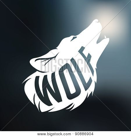 Wolf silhouette with concept text inside on blur background