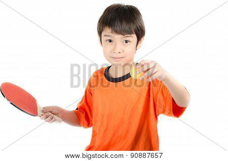 Little Boy Talking Table Tennis Bat On White Background