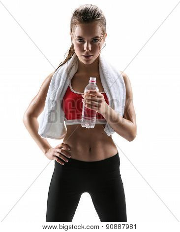 Beautiful Girl With Towel And Bottle Of Water / Photo Set Of Sporty Muscular Female Brunette Girl We