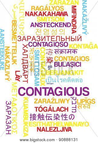 Background concept wordcloud multilanguage international many language illustration of contagious