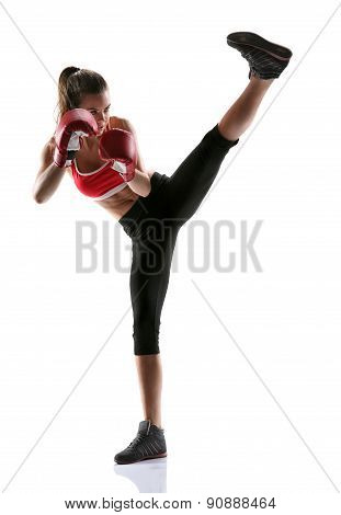 Woman Practicing Tae-bo Exercises, Kicking Forward With Legs / Photo Set Of Sporty Muscular Female B