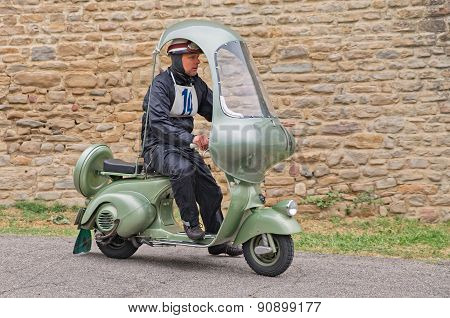 Vintage Scooter Vespa With Hard Top