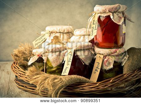 Vintage Photo Of Homemade Preserved Vegetables In Jars