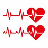 Heartbeat icons. Electrocardiogram ecg or ekg isolated on white background poster