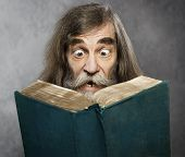 Senior Old Man Read Book Amazing Face Crazy Shocked Eyes Confused Surprised People poster