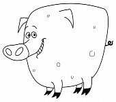 Outlined vector illustration of a smiley pig poster