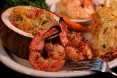 grilled shrimp with fresh coconut and tropical rice poster