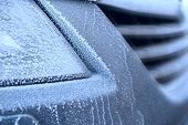 Fragment car in frost as concept of winter cold poster