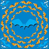 Bats fly in circles in this abstract background vector illustration of the illusory motion variety.  Very batmospheric! poster