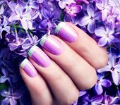Manicured nails Nail Polish art design. Violet with green colors Art Manicure. Nail Polish. Beauty hands. Fashion Stylish Trendy Colorful Nails  poster