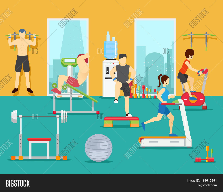 Training people gym vector photo bigstock