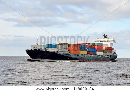 Cargo Container Ship Sailing Loaded With Colourful Containers