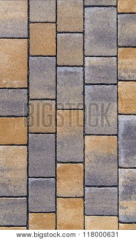 Paving Blocks Made Of Square Stone In Bright Ligh
