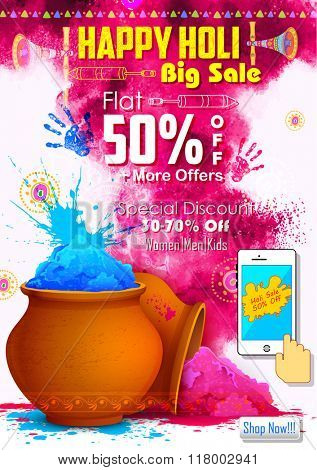 illustration of colorful gulaal (powder color ) for Happy Holi promotional background