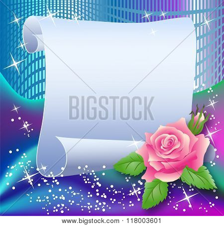 Magic Background With Paper And Rose