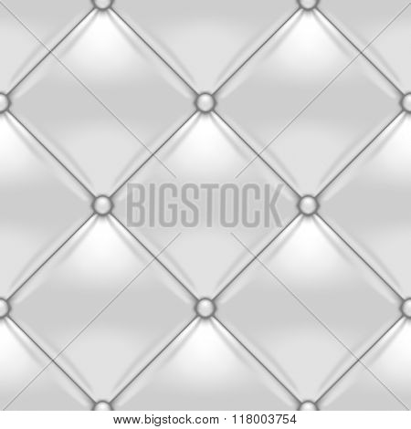 White button-tufted leather background. White upholstery seamless pattern. Vector illustration.